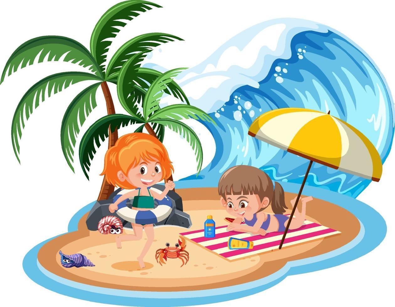 Kinder auf der Insel isoliert vektor