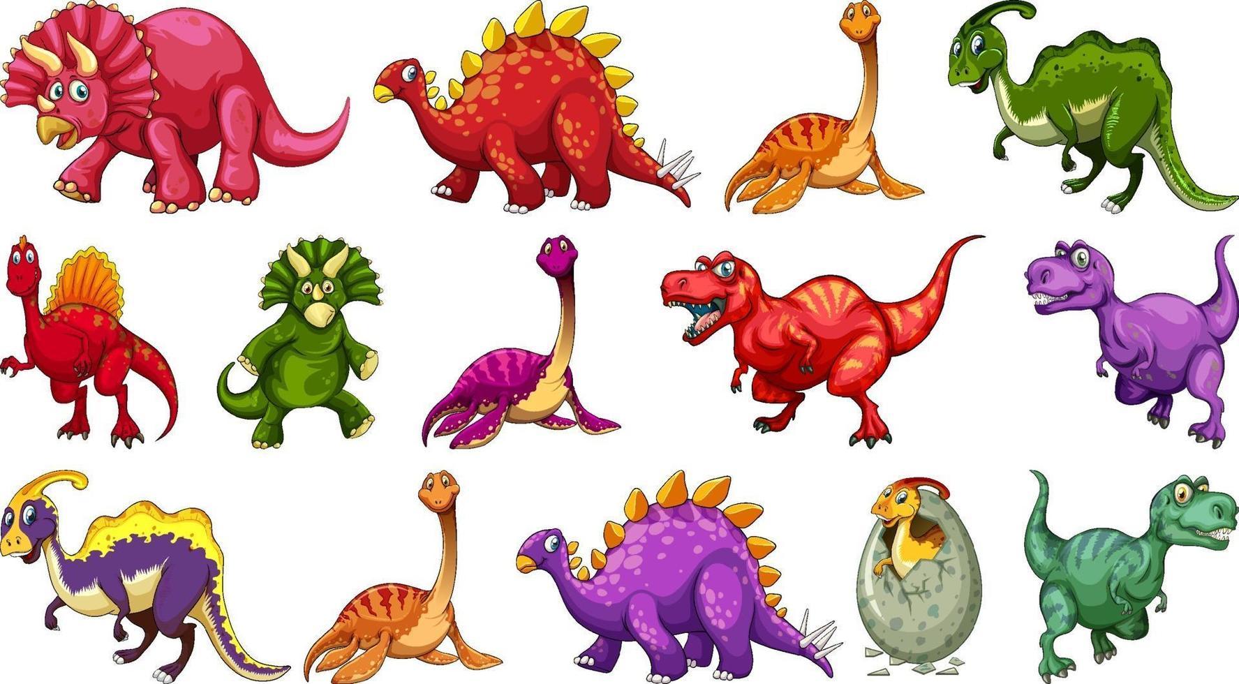 Satz verschiedene Dinosaurier-Zeichentrickfigur lokalisiert auf weißem Hintergrund vektor