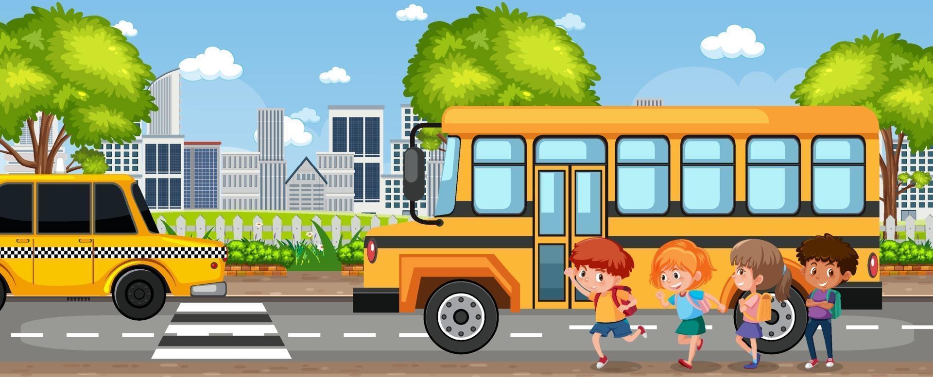 Schüler geht mit dem Schulbus zur Schule vektor