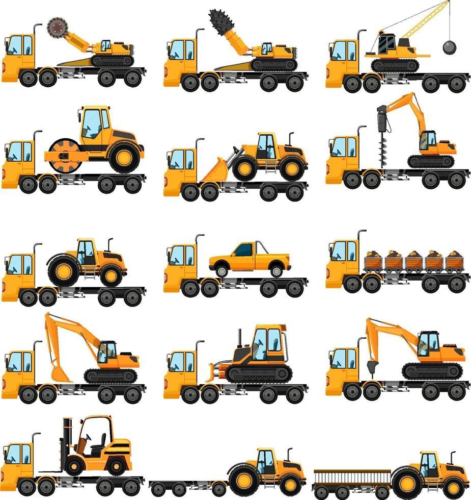olika typer av byggbilar vektor