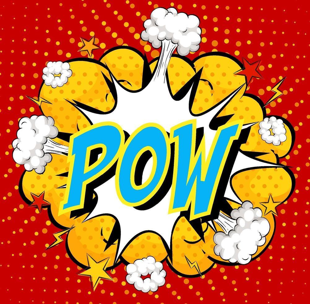 Wort pow auf Comic Cloud Explosion Hintergrund vektor