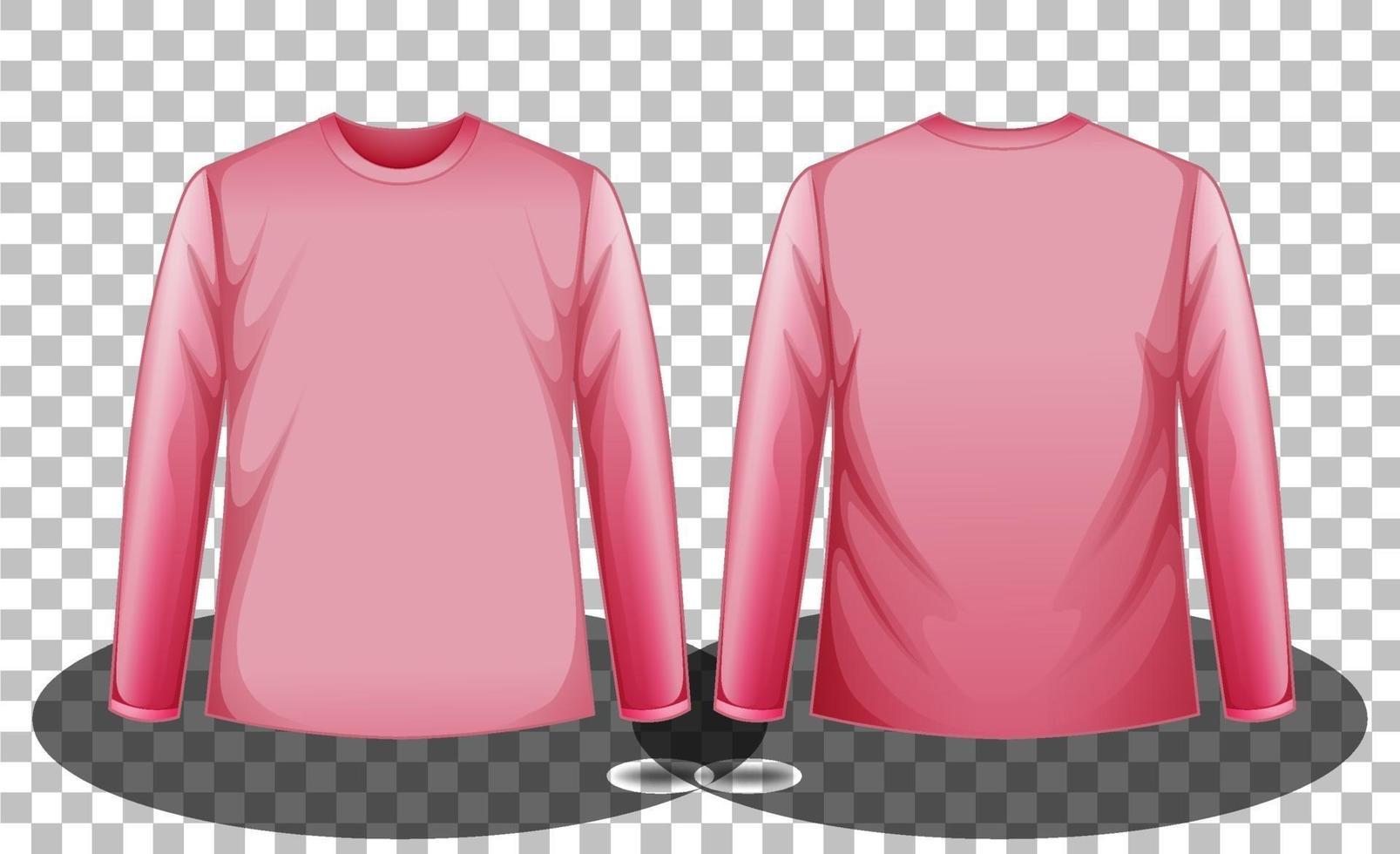 fram och bak på rosa långärmade t-shirt på transparent bakgrund vektor