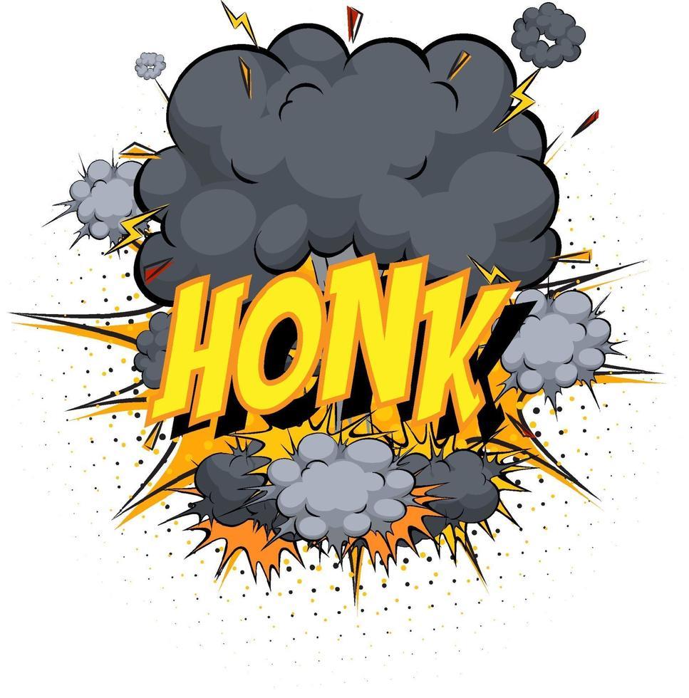 Wort hupen auf Comic Cloud Explosion Hintergrund vektor