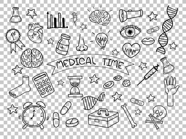 medicinsk element i doodle eller skiss stil isolerad på transparent bakgrund vektor