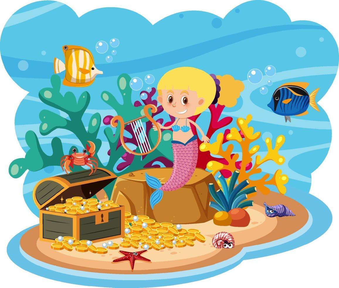 sjöjungfru i undervattensvärlden vektor