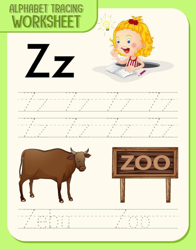 alfabetet spåra kalkylblad med bokstaven z och z vektor