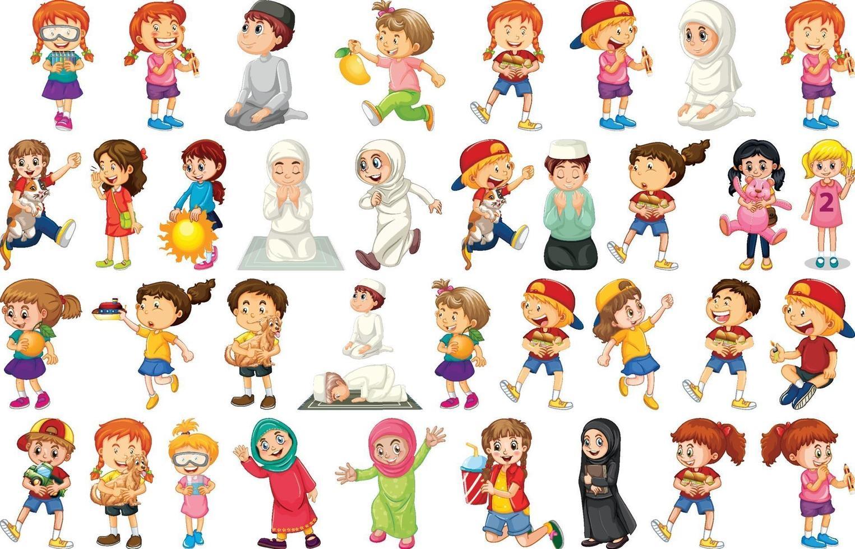 barn gör olika aktiviteter seriefigurer på vit bakgrund vektor