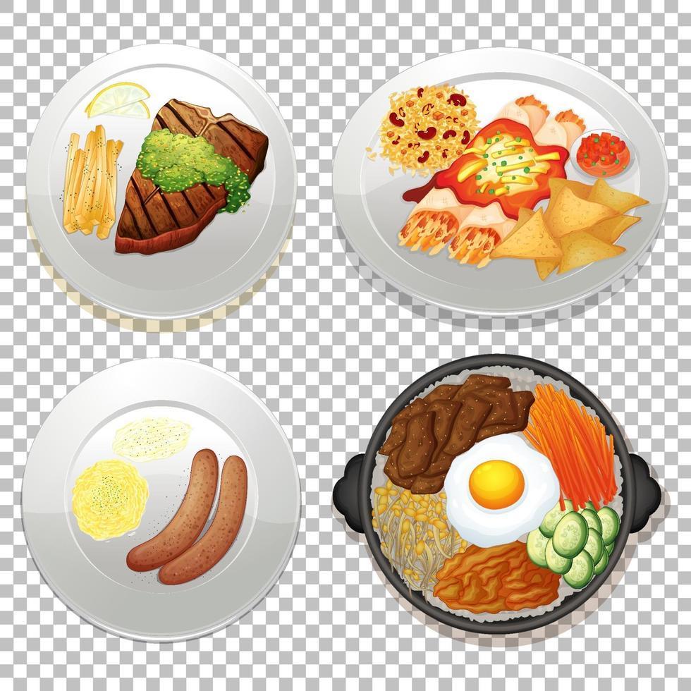 Satz Essen auf transparentem Hintergrund vektor