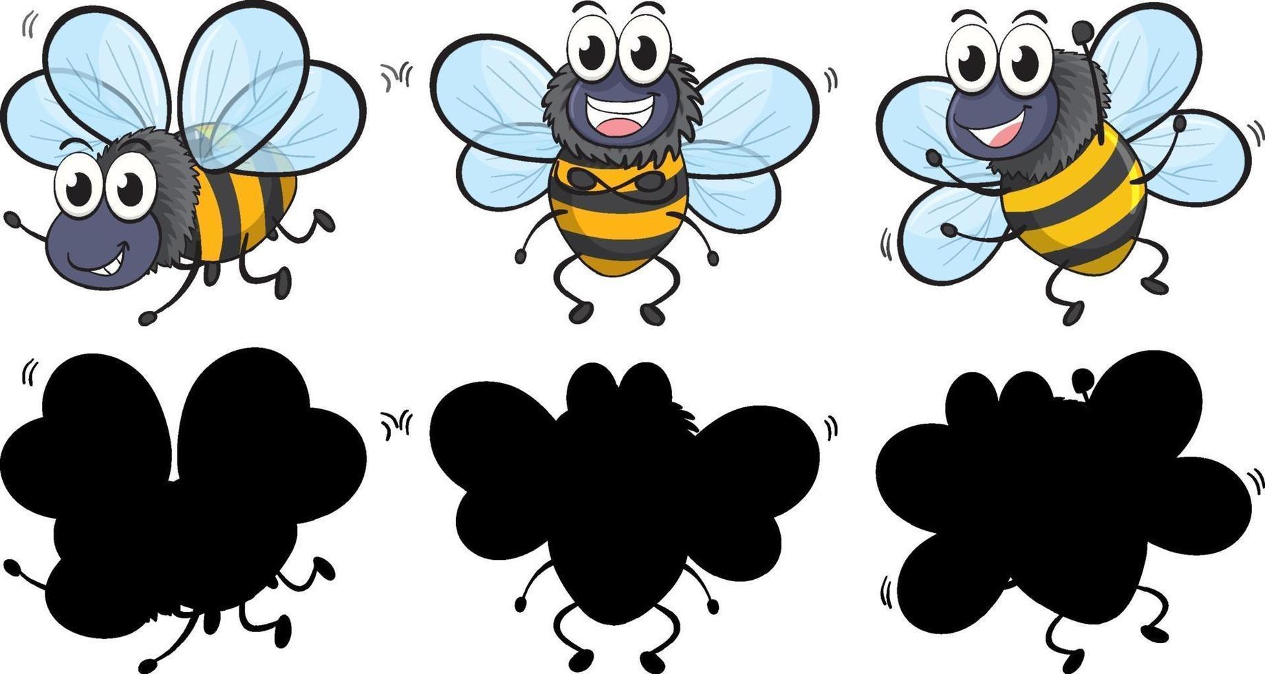 söt bi i tre positioner med sin silhuett på vit bakgrund vektor
