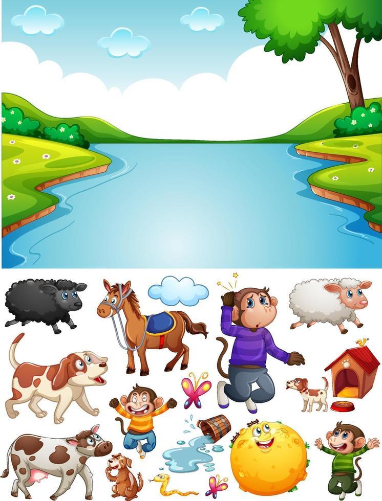 tom flod scen med isolerade seriefigur och objekt vektor
