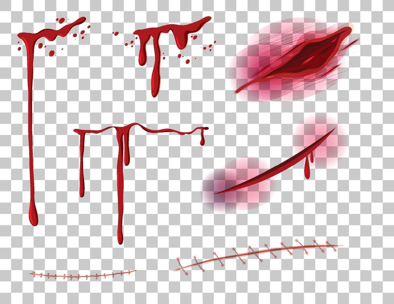 rotes tropfendes Blut mit vielen verschiedenen Wunden auf transparentem Hintergrund vektor