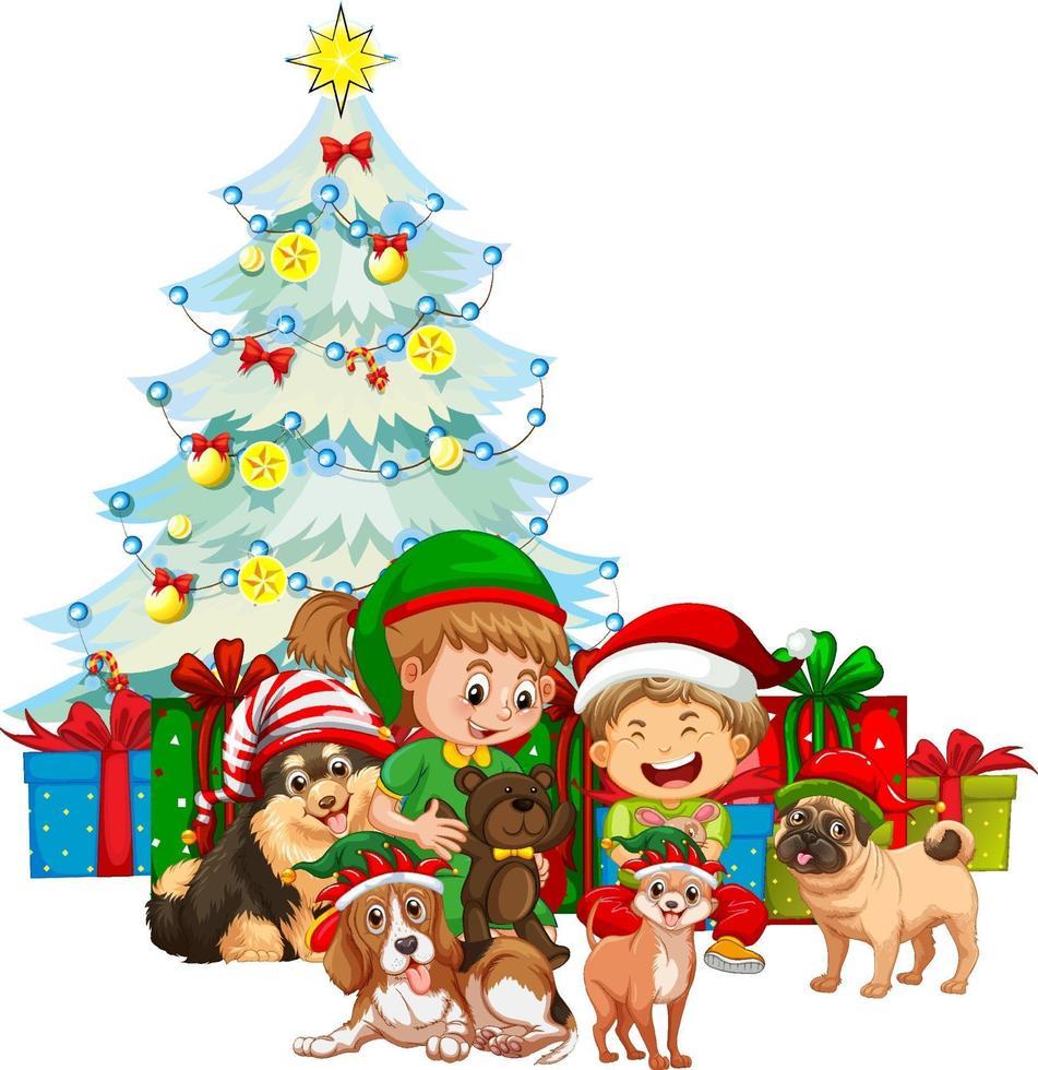 Gruppe von Kindern mit ihrem Hund, der Weihnachtskostüm auf weißem Hintergrund trägt vektor