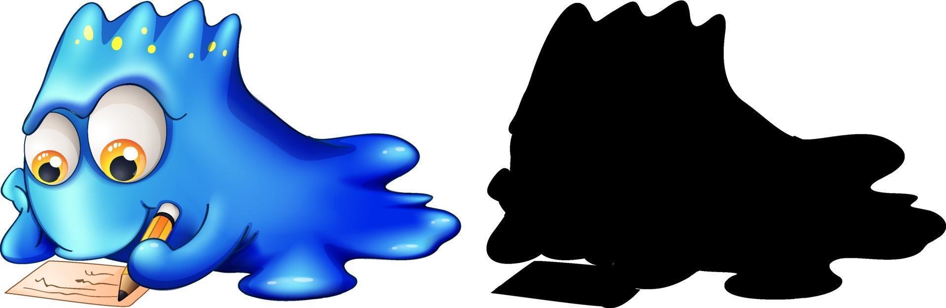 blaues Monster mit seiner Silhouette auf weißem Hintergrund vektor