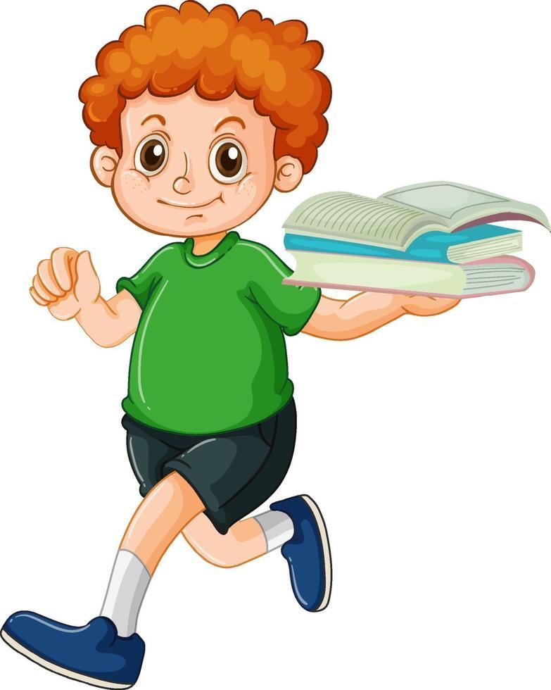 ein glücklicher Junge, der Buchkarikaturfigur auf weißem Hintergrund hält vektor