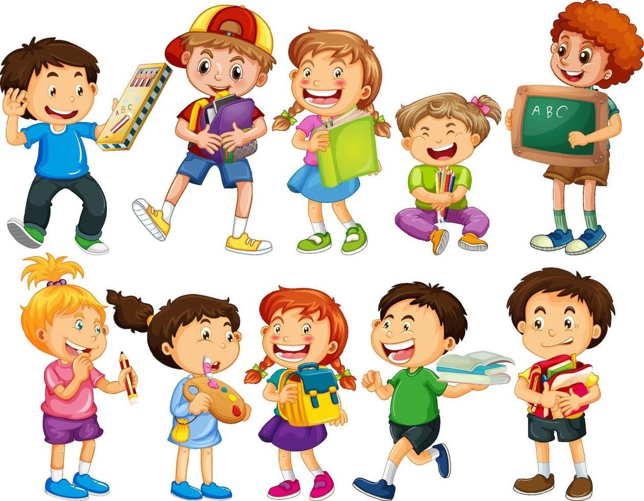 grupp barn seriefigur vektor