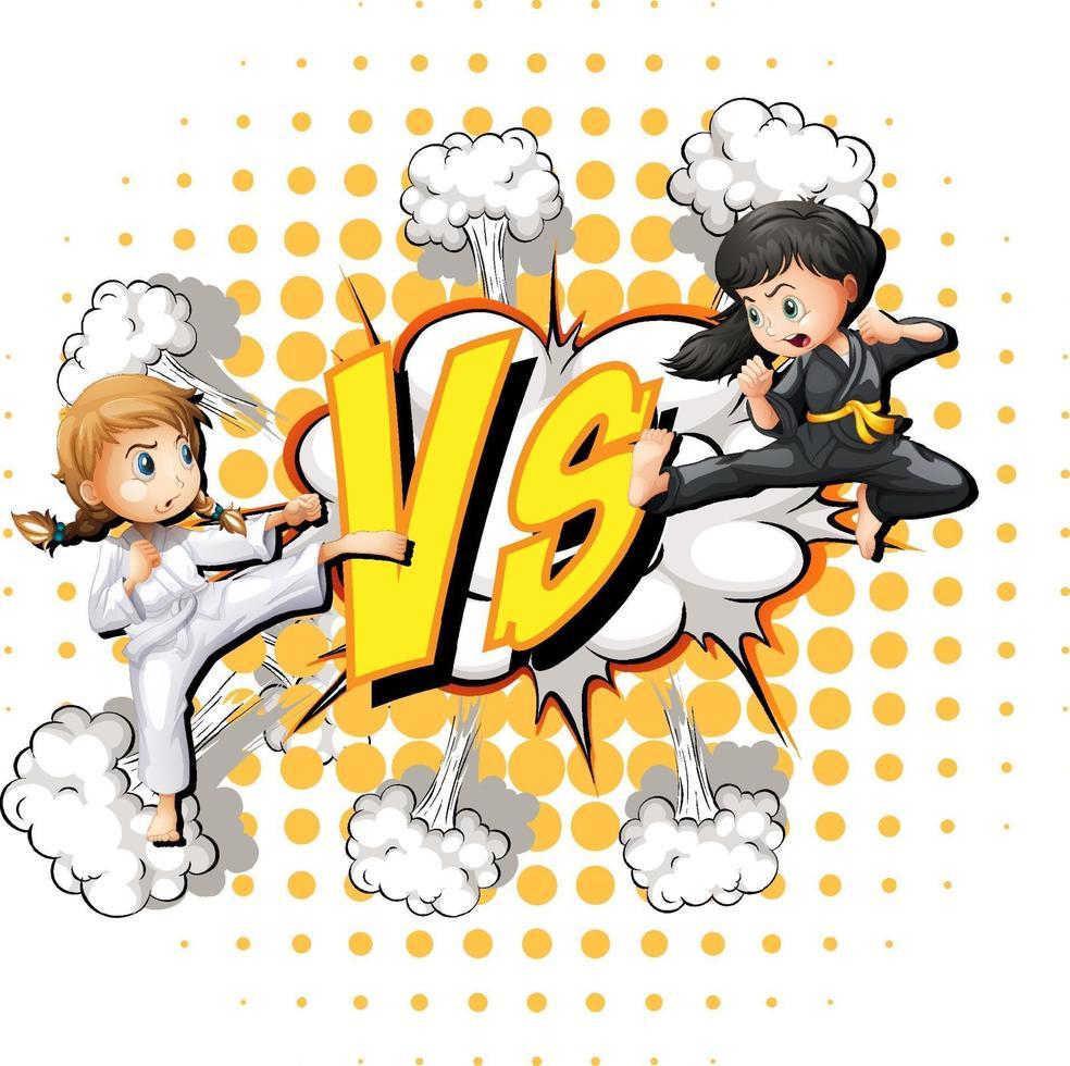 två tjejer slåss på en vit bakgrund vektor