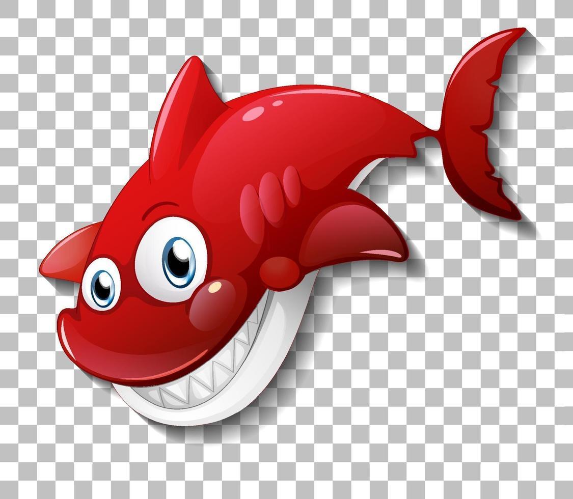 lächelnde niedliche Hai-Zeichentrickfigur lokalisiert auf transparentem Hintergrund vektor