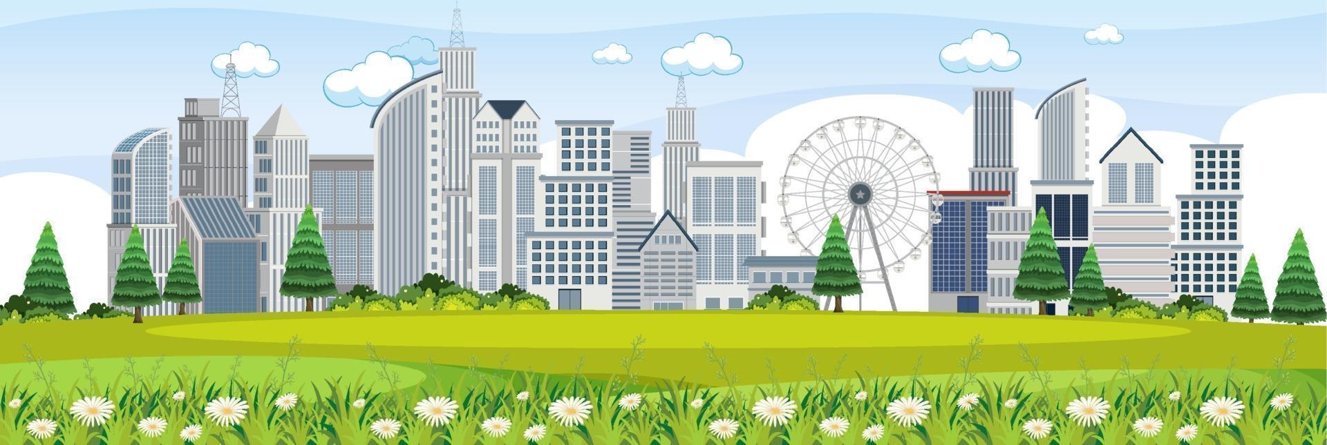 stadsscen från parkvyn vektor