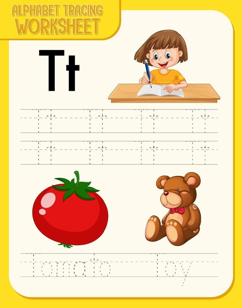 Arbeitsblatt zur Alphabetverfolgung mit den Buchstaben t und t vektor