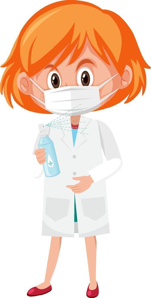 Mädchen im Arztkostüm, das Händedesinfektionsmittelflaschenobjekte lokalisiert auf weißem Hintergrund hält vektor