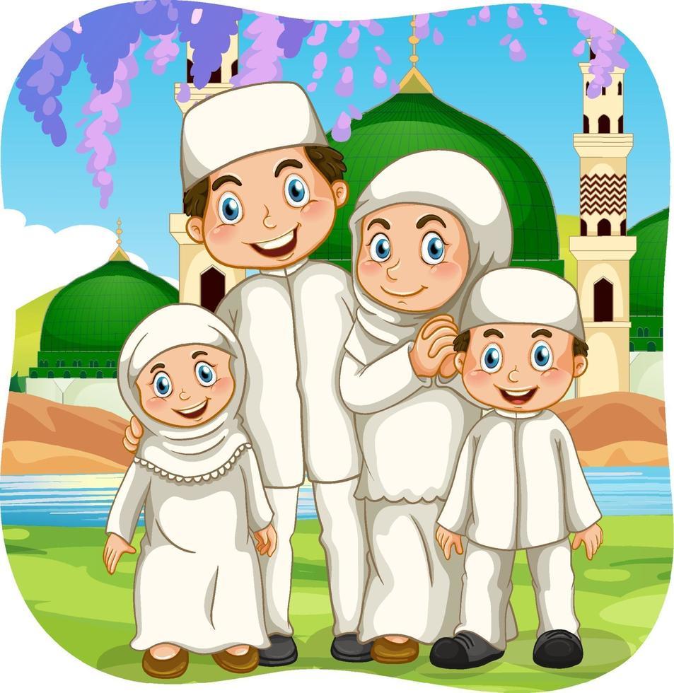 Outdoor-Szene mit muslimischer Familie Zeichentrickfigur vektor
