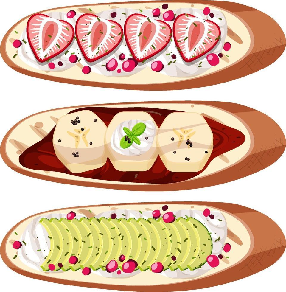 uppsättning ovanifrån av bröd med isolerad frukt vektor