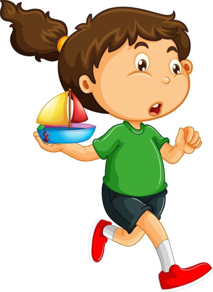 ein Mädchen, das eine Schiffsspielzeugkarikaturfigur lokalisiert auf weißem Hintergrund hält vektor