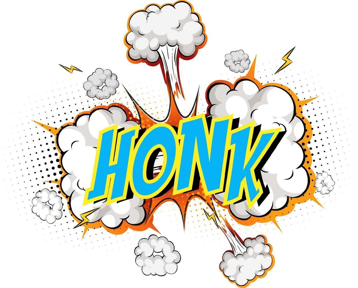 word honk på komisk moln explosion bakgrund vektor