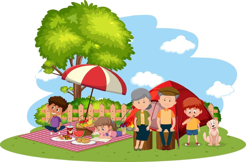glückliches Familiencamping im Garten vektor