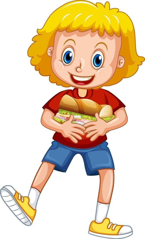 en tjej som håller mat seriefiguren isolerad på vit bakgrund vektor