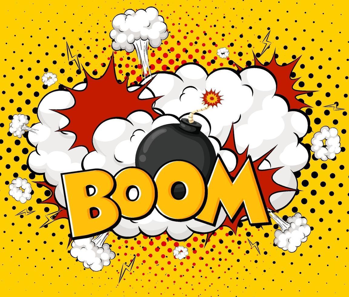Boom Formulierung Comic-Sprechblase auf platzen vektor
