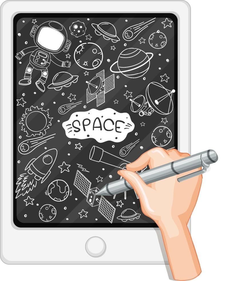 Handzeichnung Raumelement auf Tablette vektor