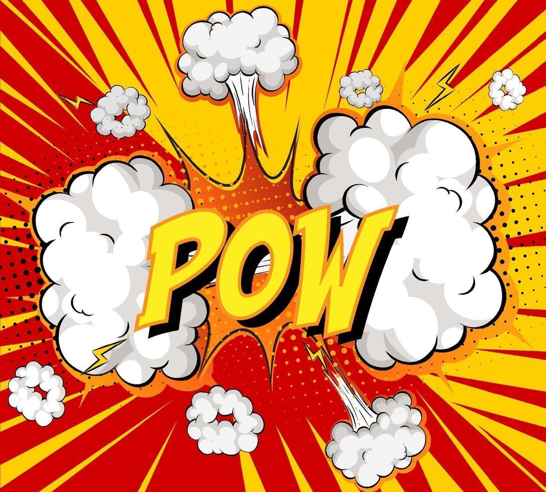 word pow på komisk moln explosion bakgrund vektor
