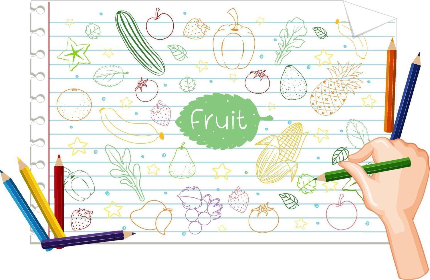 Handzeichnung viele Früchte kritzeln auf Papier vektor