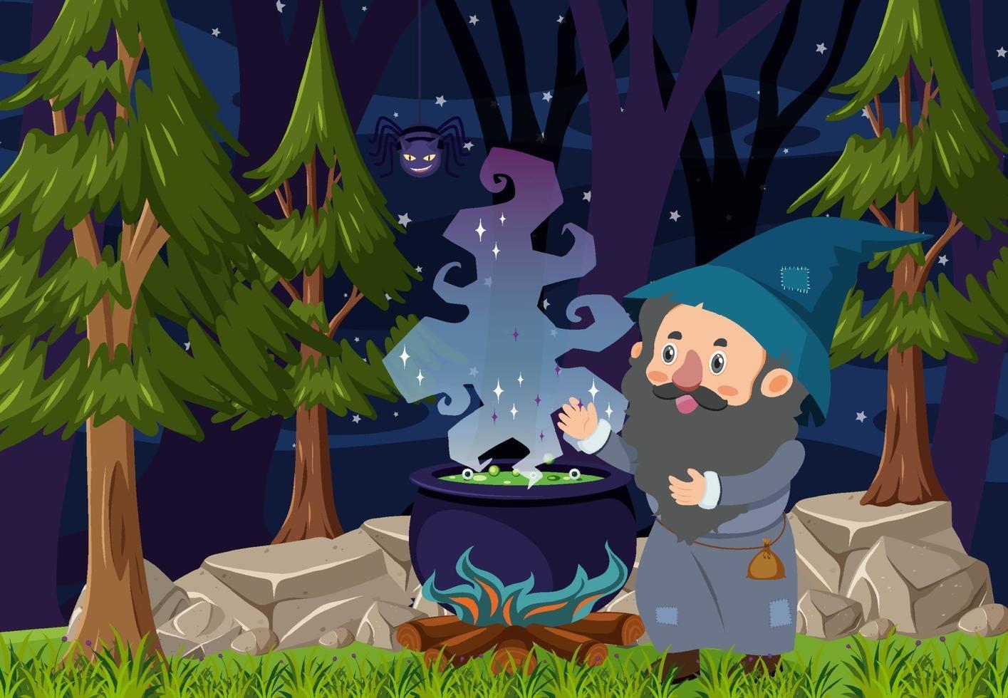 skog scen på natten med en trollkarl stavning med potion potten vektor