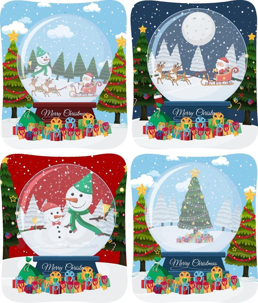 uppsättning av god jul scen med jultomten i snö vektor
