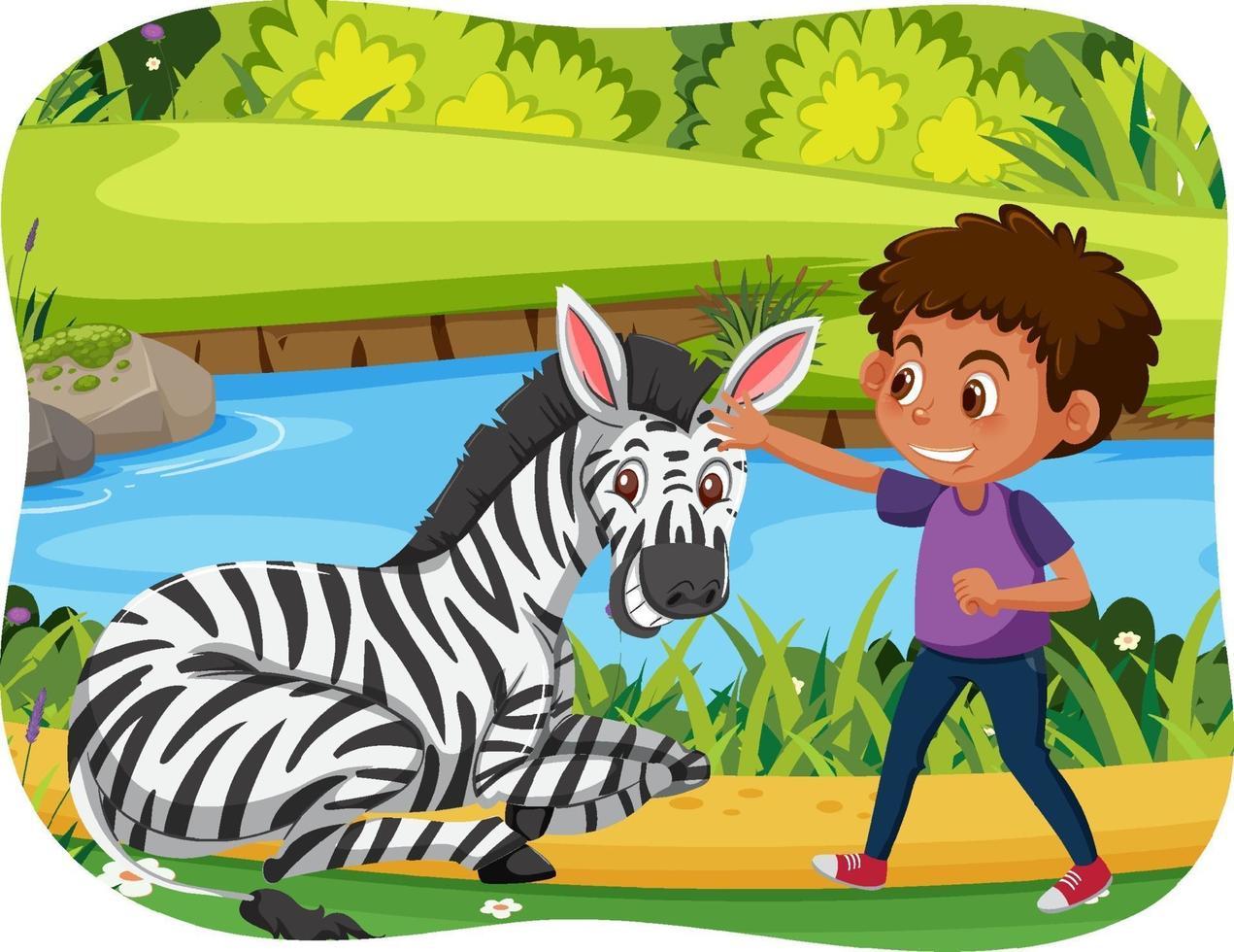 glada barn med djur i natur bakgrund vektor
