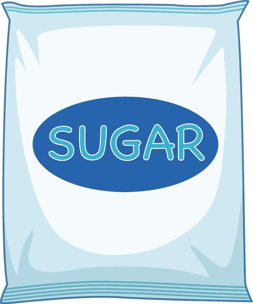 ett paket socker på vit bakgrund vektor