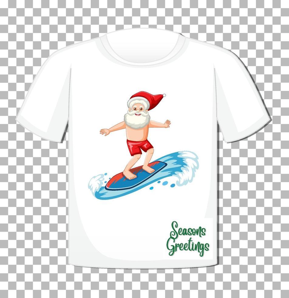 Weihnachtsmann im Sommerkostümkarikaturcharakter auf T-Shirt lokalisiert auf transparentem Hintergrund vektor
