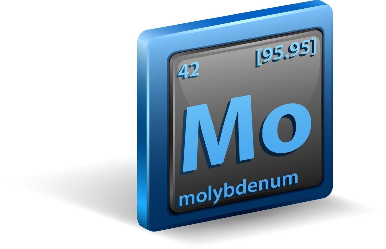 molybden kemiskt element. kemisk symbol med atomnummer och atommassa. vektor