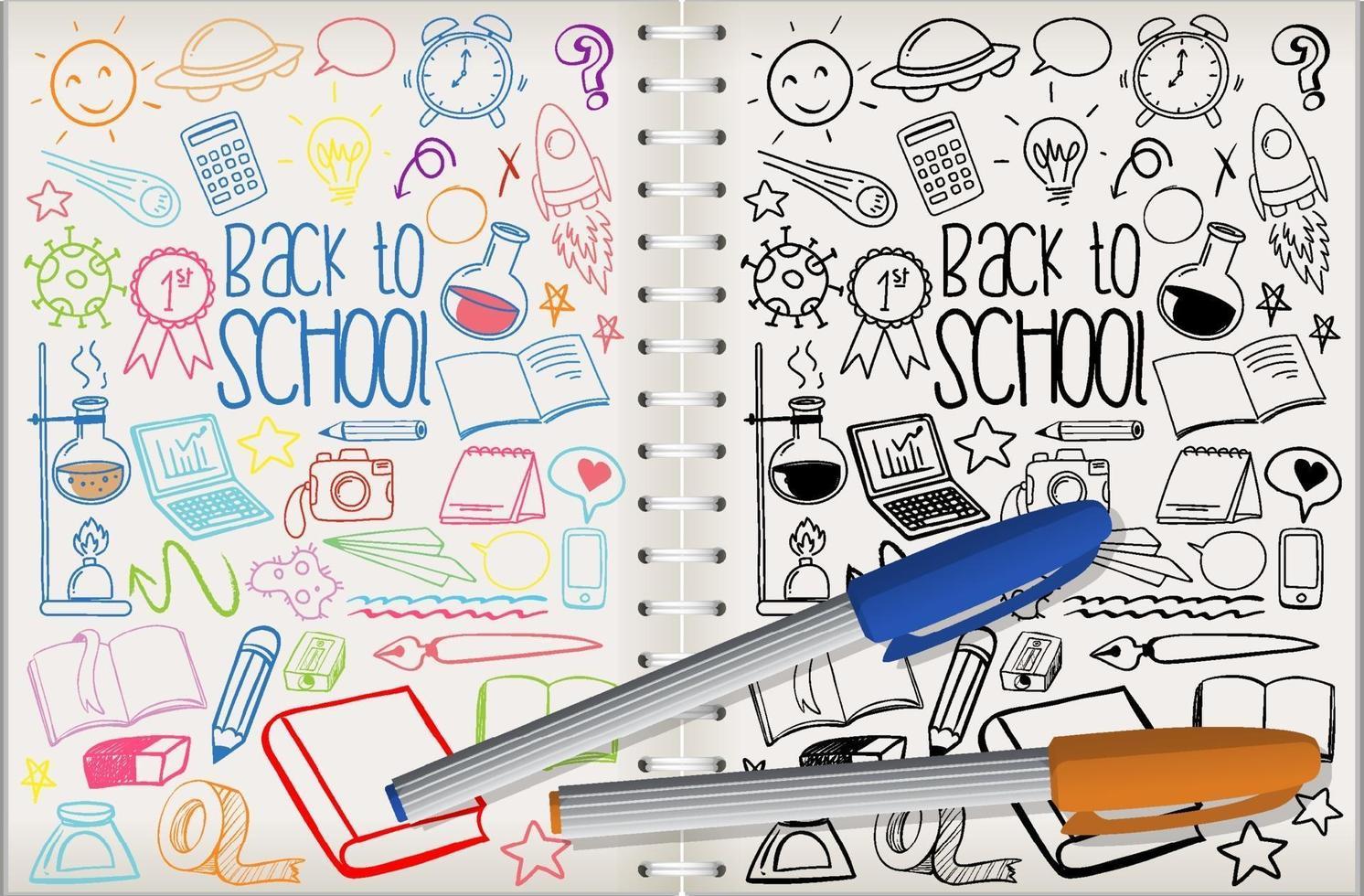 uppsättning skola element klotter på anteckningsboken vektor
