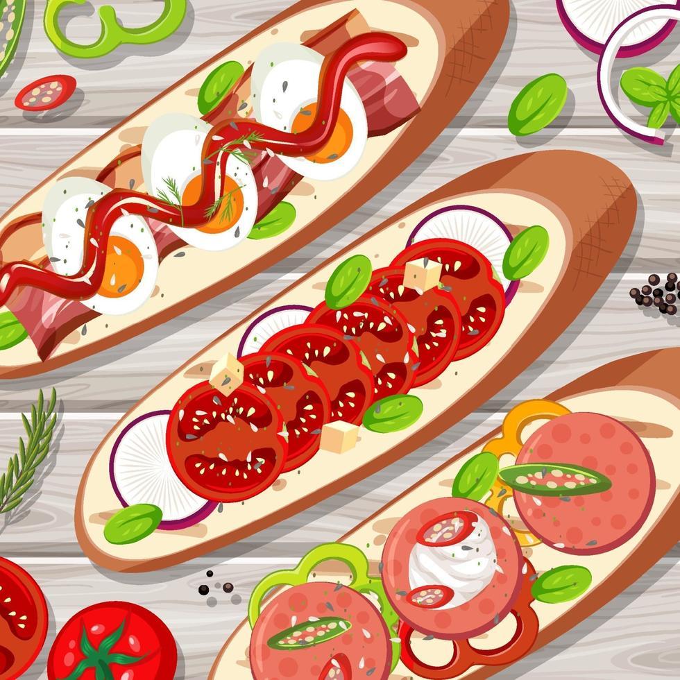 många bruschetta rostat bröd på bordet på nära håll vektor