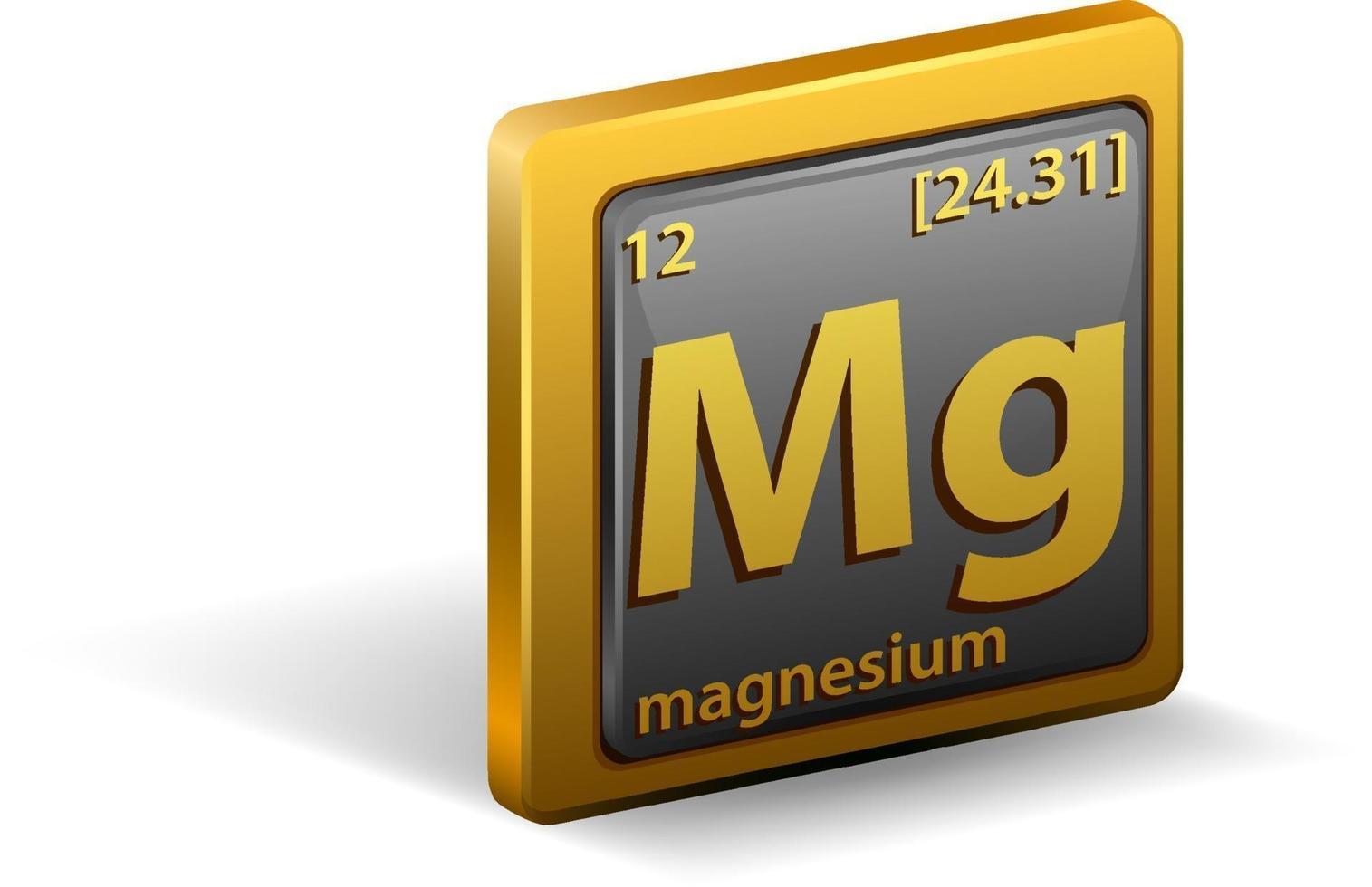 magnesium kemiskt element. kemisk symbol med atomnummer och atommassa. vektor