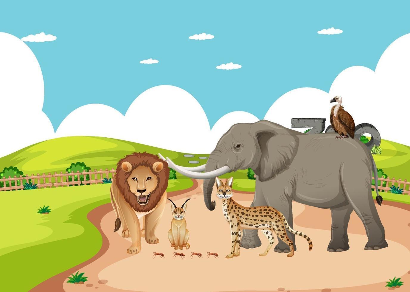 grupp av vilda afrikanska djur i djurparken vektor