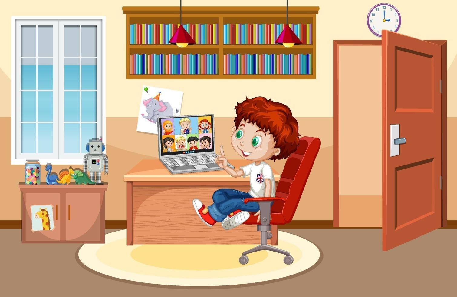 en pojke kommunicerar videokonferens med vänner hemma scen vektor