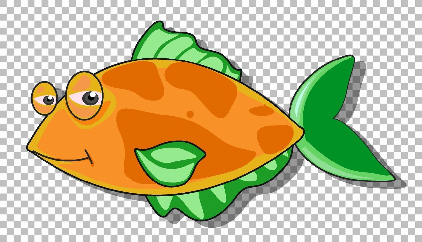 eine Fischkarikaturfigur lokalisiert auf transparentem Hintergrund vektor