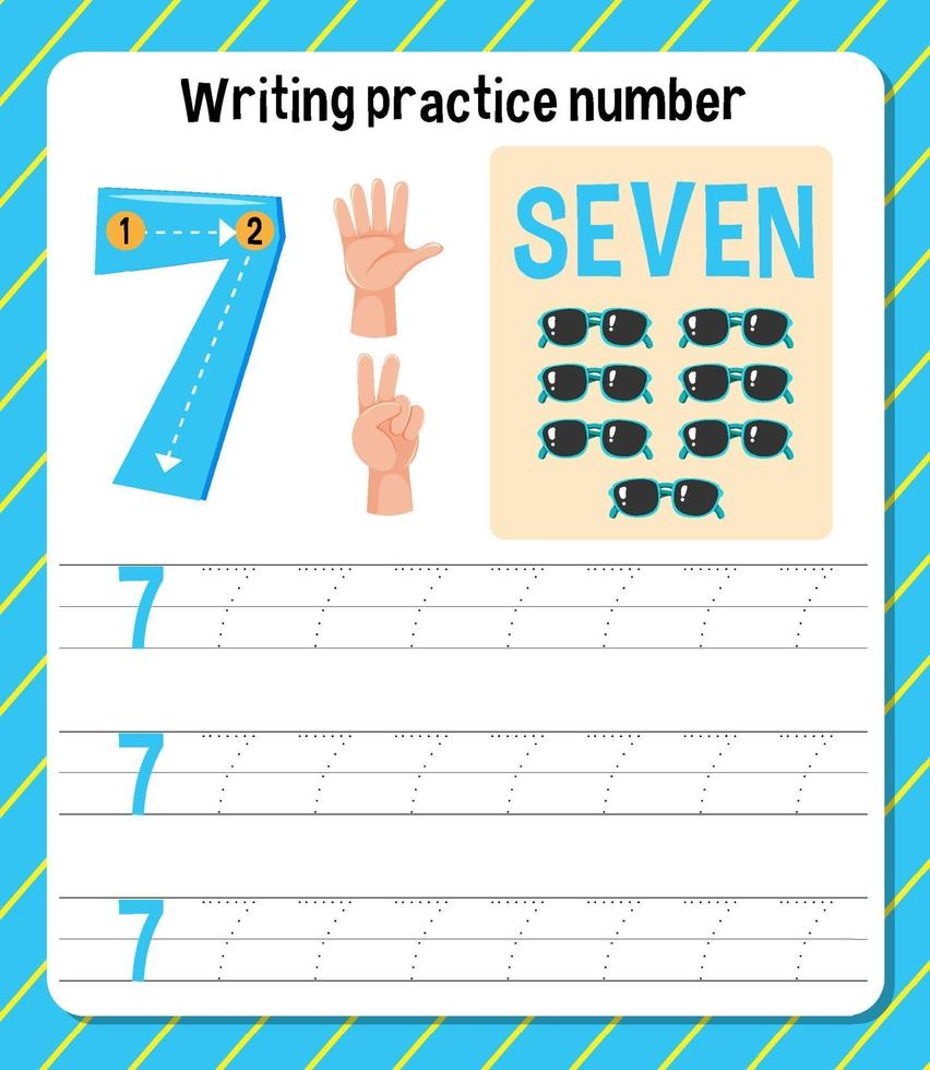 skrivpraxis nummer 7 kalkylblad vektor