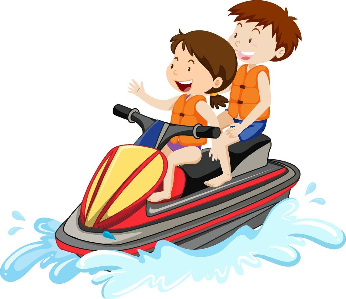 barn som kör en vattenskoter isolerad på vit bakgrund vektor