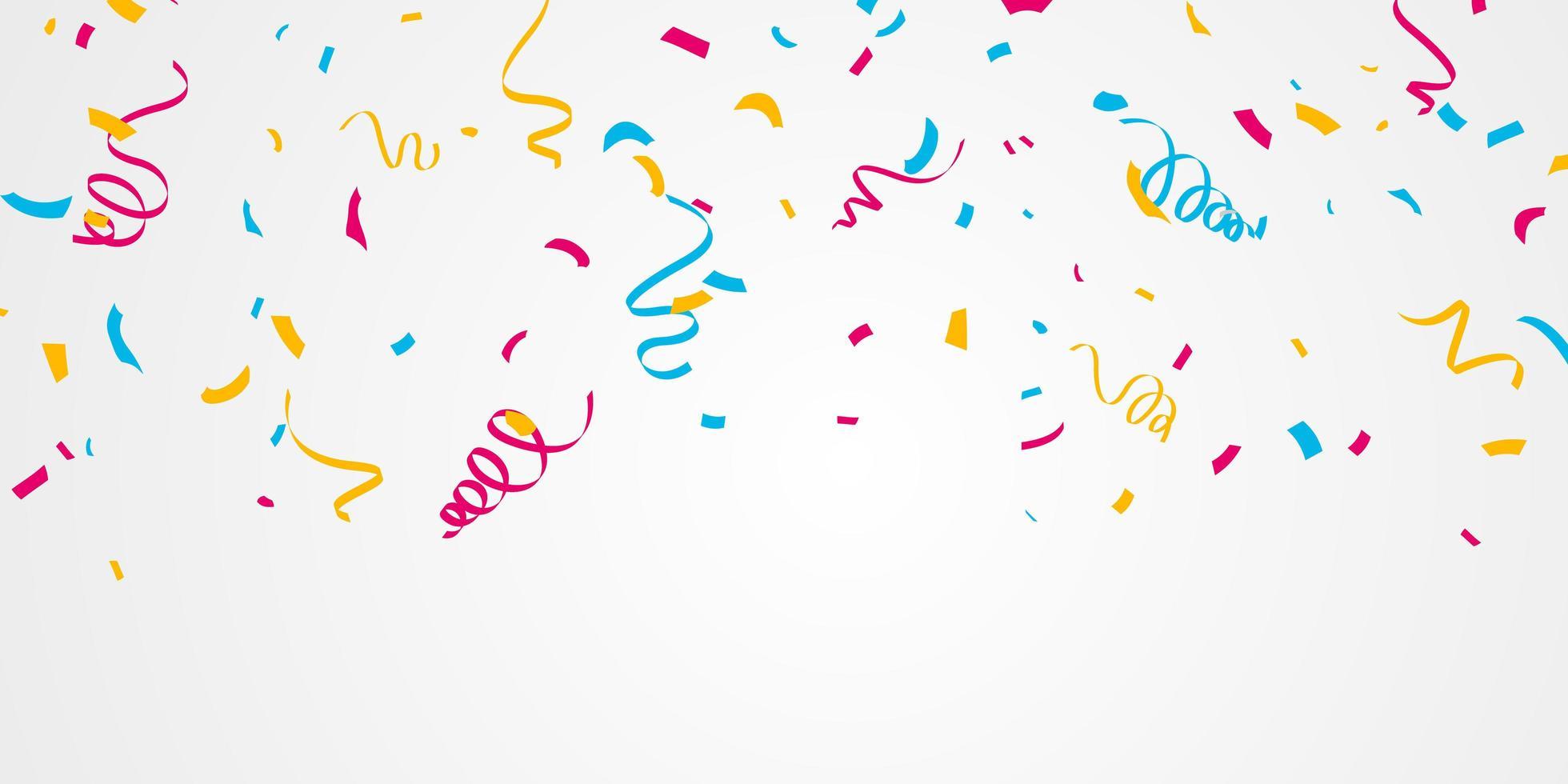 konfetti och färgglada band. firande bakgrundsmall vektor