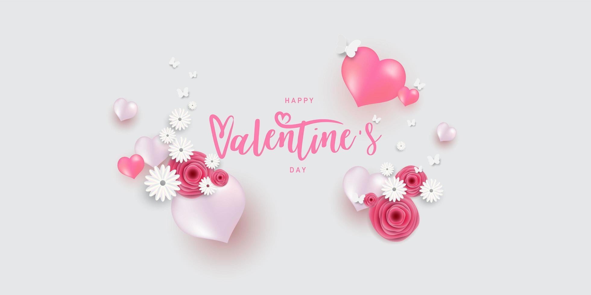 rosa vita ballonger och blommor för alla hjärtans dag vektor